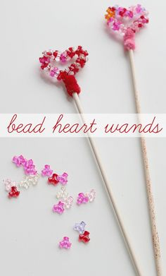 Beaded heart wands for Valentine's Day.