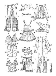 Karen`s Paper Dolls: Josefine 1-4 Paper Doll to Colour. Josefine 1-4 påklædningsdukke til at farvelægge.