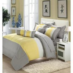 Chic Home Serenity 10-piece Comforter Set with Sheets Queen Yellow/Grey