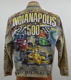 The Tony Alamo Of Nashville Indy 500 Acid Washed Rhinestone Jean Jacket XL Used