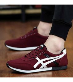 Men's #red leather shoe #sneakers with stripe pattern print, Lace up style, casual sport occasions.