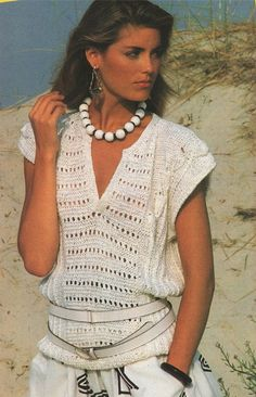 Womens Jumper Top PDF Knitting Pattern : Ladies 32 34 and 36