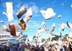 In this town once a year you have to partake in the Pillow Fight. It's a law.