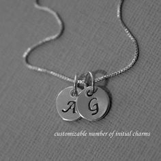 Initial Necklace, Sterling Silver Initial Necklace (with box chain; initials E & J)