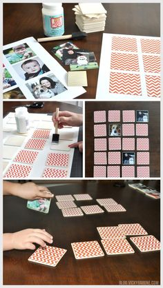 DIY MEMORY GAME using family pictures! Free PDF in the blog post for the chevron design in three different colors!