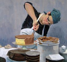 Eric Bowman, painting of icing a cake.