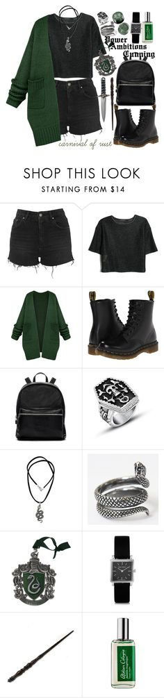 """Proud to be a Slytherin"" by carnivalofrust ❤ liked on Polyvore featuring Topshop, MANGO, Dr. Martens, Elizabeth and James, Andante, NOVICA, Universal, Isabel Marant, Emma Watson and Atelier Cologne"