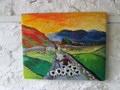 Felt art landscape picture sheep picture 20 x by SueForeyfibreart, £78.00