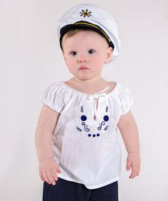 Another great find on #zulily! White & Navy Embroidered Peasant Top - Infant, Toddler & Girls #zulilyfinds