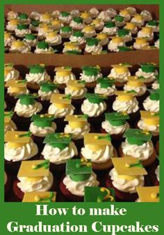 How to make Graduation Cupcakes // Looks like #Baylor to me!