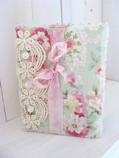 Vintage Inspired Fabric and Lace Journal Diary by ShabbySoul
