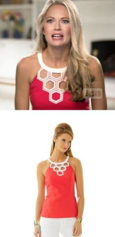 Cameran Eubank's Red and White Honeycomb Cut Out Top on Season 3 of Southern Charm http://www.bigblondehair.com/reality-tv/southern-charm-cameran-eubanks-red-white-honeycomb-top/