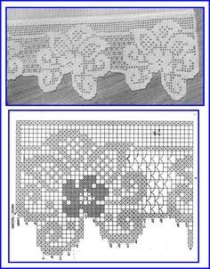 Photo & Diagram * Rough edge * Non-continuous Crochet Patterns Filet, Crochet Borders, Crochet Diagram, Lace Patterns, Crochet Designs, Crochet Stitches, Knit Crochet, Crochet Scarves, Crochet Doilies