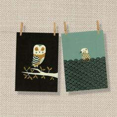 Set of 2 Wildlife Tea Towels by Magpie - Owl/Otter