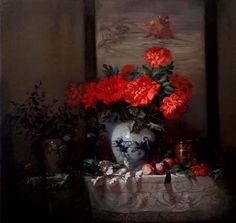 The Splendid Table 30x30. SOLD, shipped to Australia. © Margret E. Short 2015 #art #painting #portland