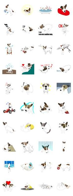 [Gin] is an older dog. 12-year-old Jack Russell Terrier. These are Stickers of healing that shows daily life of [Gin].
