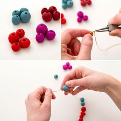 Create a statement necklace using clay beads.
