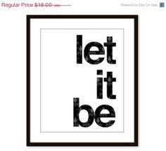 Let It Be  Wall Art Print  Quote  Black  Modern  by AldariArt, $15.30