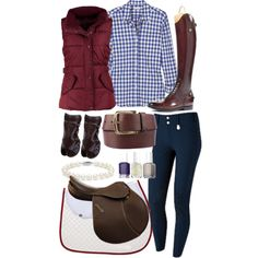 "Haha! I love that nail Polish is included with a riding outfit! What rider can keep their nails nice? ""Navy & Burgandy"" by ashlyn-pease on Polyvore"
