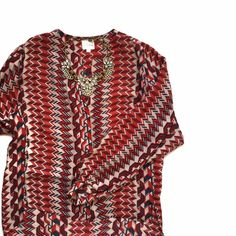Parker Chevron Silk Blouse Sz S ❌NO TRADES❌  - Parker Chevron Silk Blouse Sz S  -  100% Silk w/ Red, White & Blue Pattern  - Great Used Condition. Anthropologie Tops Blouses