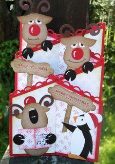 Punch art Reindeer double cascade card http://daffyscrapper.wordpress.com
