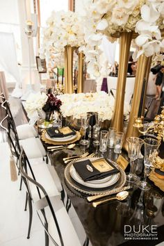 Art Deco Wedding Theme I http://verdigrisvenuedressing.co.uk I Gold I Black I Decorations I Great Gatsby I 1920′s I Table Setting