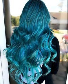 - All For Hair Color Balayage Hot Hair Colors, Hair Color Shades, Hair Color Dark, Cool Hair Color, Teal Hair, Green Hair, Hair Color Highlights, Hair Color Balayage, Wavy Hair