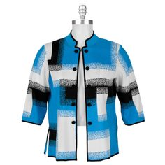 One of my favorite Ming Wang jackets I own.  Always get compliments that the blue brings out my eyes.