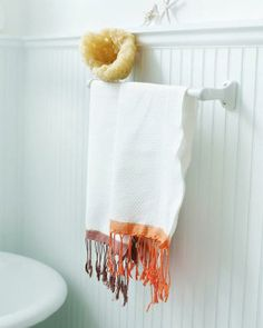 Dip Dye Kitchen Towels via Sweet Paul. Easy way to customize inexpensive towels to match your decor!