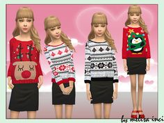 The Sims Resource: Girls Christmas Knitted Jumper by melisa_inci • Sims 4 Downloads