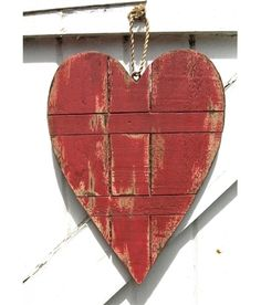 Plank Red Wooden Heart Decoration - Shabby Chic £15.99 By The Bay Mevagissey