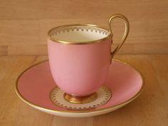 J M P Bell Glasgow Scotland Porcelain Pink Sevres Shape Cup Saucer