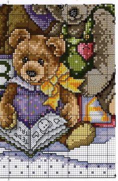 Cozy Bears Cross Stitch Boards, Cross Stitch For Kids, Cross Stitch Baby, Cross Stitch Animals, Needlepoint Patterns, Embroidery Patterns, Cross Stitch Designs, Cross Stitch Patterns, Cross Stitching