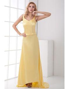 Sheath/Column V-neck/Spaghetti Straps Sweep/Brush Train Chiffon/Satin Dress – GBP £ 109.49