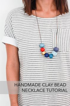 Handmade Clay Bead Necklace- One Little Minute Blog-21