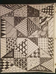 Zentangle by Rachel L'milk Cool Designs To Draw, Doodle Designs, Doodle Patterns, Zentangle Patterns, Zentangle Drawings, Doodles Zentangles, Doodle Drawings, Doodle Art, Cool Art Drawings