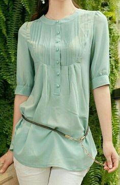 Chiffon quarter sleeve blouse