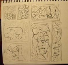 Sketchbook page of scribbles - Assignment 1 - Raw Sketchbook Free Form Association: Assignment 1 - Raw Sketchbook Free Form Association  I discovered that I really liked the strange little creatures that emerged, odd as they are. When