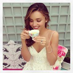 .@Miranda Kerr | Tea time in the garden with my favorite #royalalbert teacup