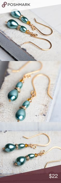 Teal Pearl Earrings Handmade New Teal pearl earrings made with vivid teal teardrop glass pearls accented with gold rings topped with blue green glass rice pearls & golden crystals. Spectacular accent teardrop earrings!  Lady Annabelle Earrings Length measures 1.65 inches (42mm) Available in more colors!   Handmade by me! From Bees and Buttercups on etsy. This one of a kind item is not listed anywhere else ! Bees and Buttercups Jewelry Earrings
