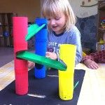 Enjoy a diy brightly painted marble run that you can make yourself! So much fun!