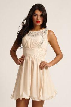Little Mistress Cream Heavily Embellished Keyhole Back Prom Dress