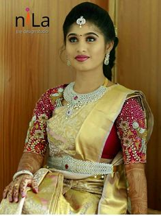South Indian Makeup, South Indian Bride, Bridal Hairstyle Indian Wedding, Indian Bridal Wear, Indian Silk Sarees, Bridal Blouse Designs, Long Blouse, Blouses, Diamond Jewelry