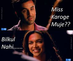 Like me & my babu Famous Dialogues, Movie Dialogues, Yjhd Quotes, Ranbir Kapoor Deepika Padukone, Bunny Quotes, Film Quotes, 365 Quotes, Desi Humor, Bollywood Quotes