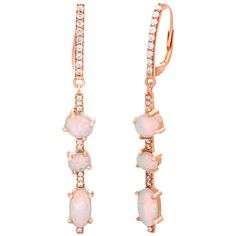 bliss White Opal & Rose Gold Vermeil Oval Drop Earrings ($37) ❤ liked on Polyvore featuring jewelry, earrings, sparkly earrings, 18 karat gold earrings, rose earrings, druzy jewelry and oval earrings