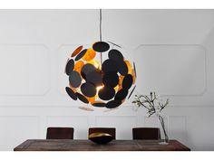 Lampe suspension design noir/doré métal laqué Infinity 70 cm