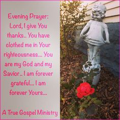 Evening Prayer: Lord, I give You thanks.. You have clothed me in Your righteousness... You are my God and my Savior.. I am forever grateful... I am forever Yours... #eveningprayer #instaquote #quote #seekgod #godsword #godislove #gospel #jesus #jesussaves #teamjesus #LHBK #youthministry #preach #testify #pray #rollin4Christ #faith #savior #atruegospelministry #gratitude #thanksgiving #love