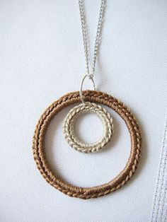 Crochet Double Circle Necklace in Camel & Cream