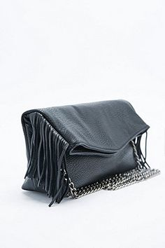 Deena & Ozzy Fringed Leather Cross Body Bag in Black - Urban Outfitters