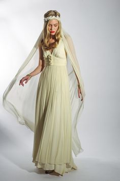 Boho Bride. The Bunty Dress by Belle & Bunty. Cream silk chiffon floaty 70s style dress with floral headband and silk full length veil